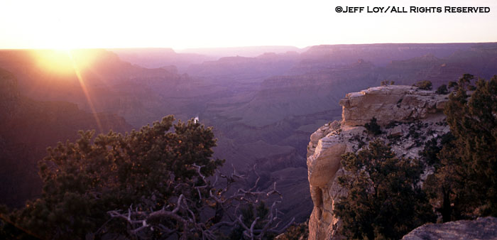 Sunset at the South Rim of the Grand Canyon.